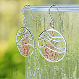 Large Round Modern Design Sterling Silver Earringgs