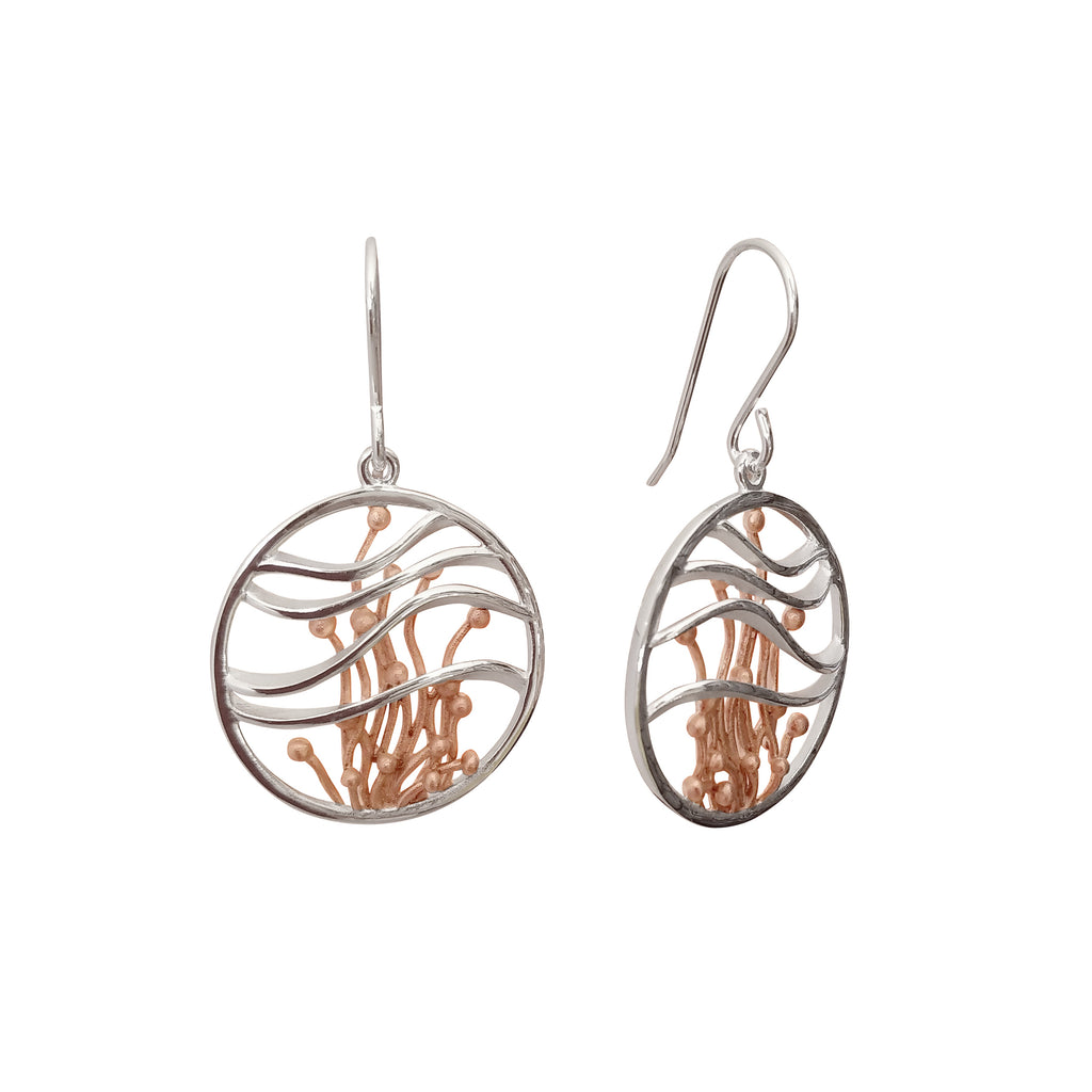 Round Large Sterling Silver Gold Plated Earrings Contemporary Modern Jewellery Australia