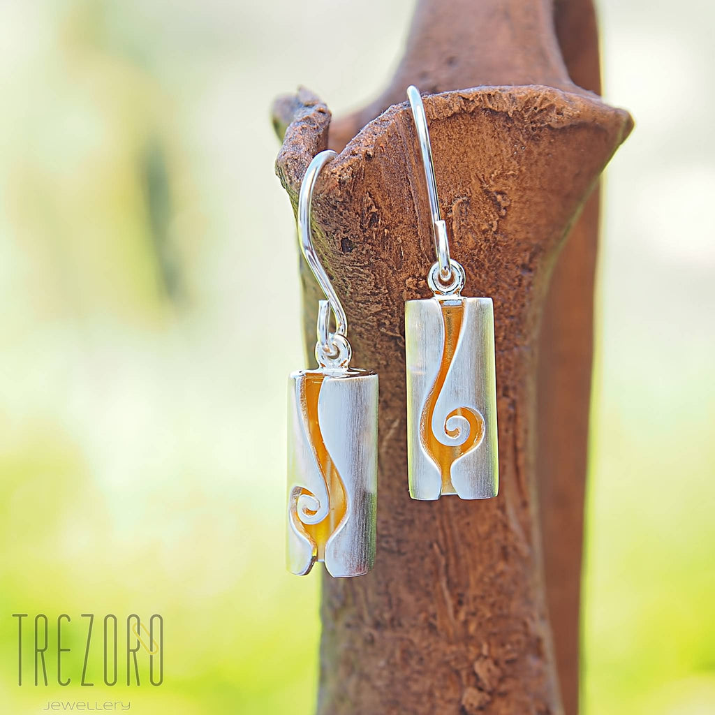 Modern design earrings sterling silver gold palted