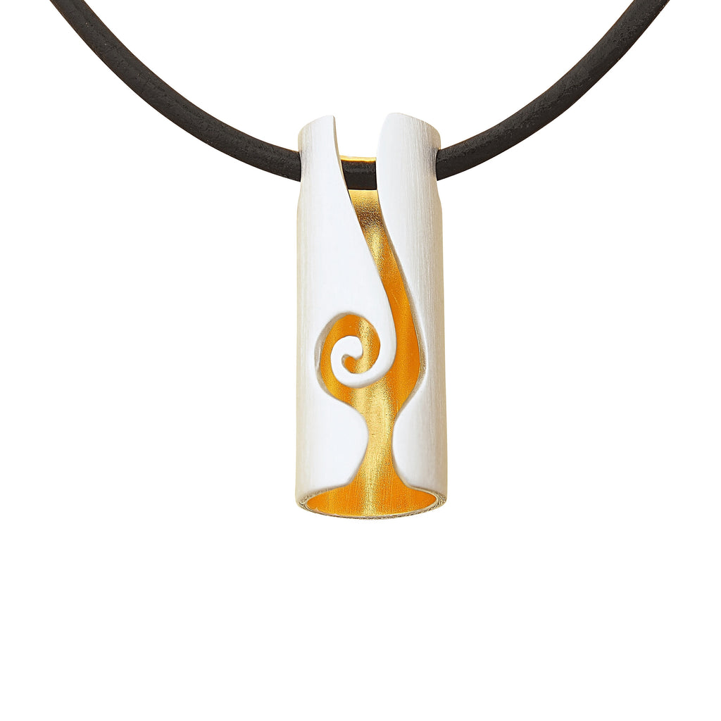 Sterling Silver Gold Plated Small Pendant Necklace Contemporary Modern Geometric on Leather Cord