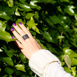 "Sapphire Juvite Ring Sterling 'Silver Brocade"" Black Modern Design Trezoro Jewellery Online Store"