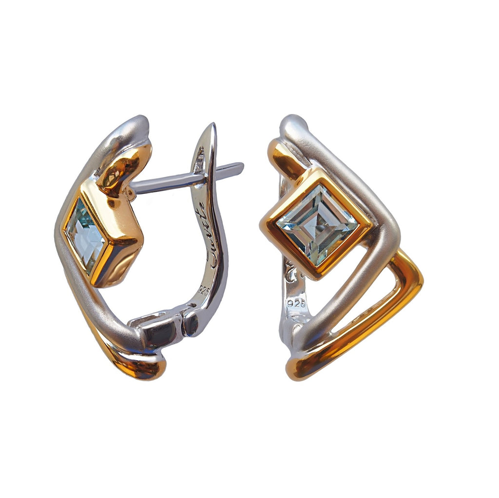 Two Roads Designer Earrings. Sterling Silver with Topaz. Rhodium and Gold Plated.