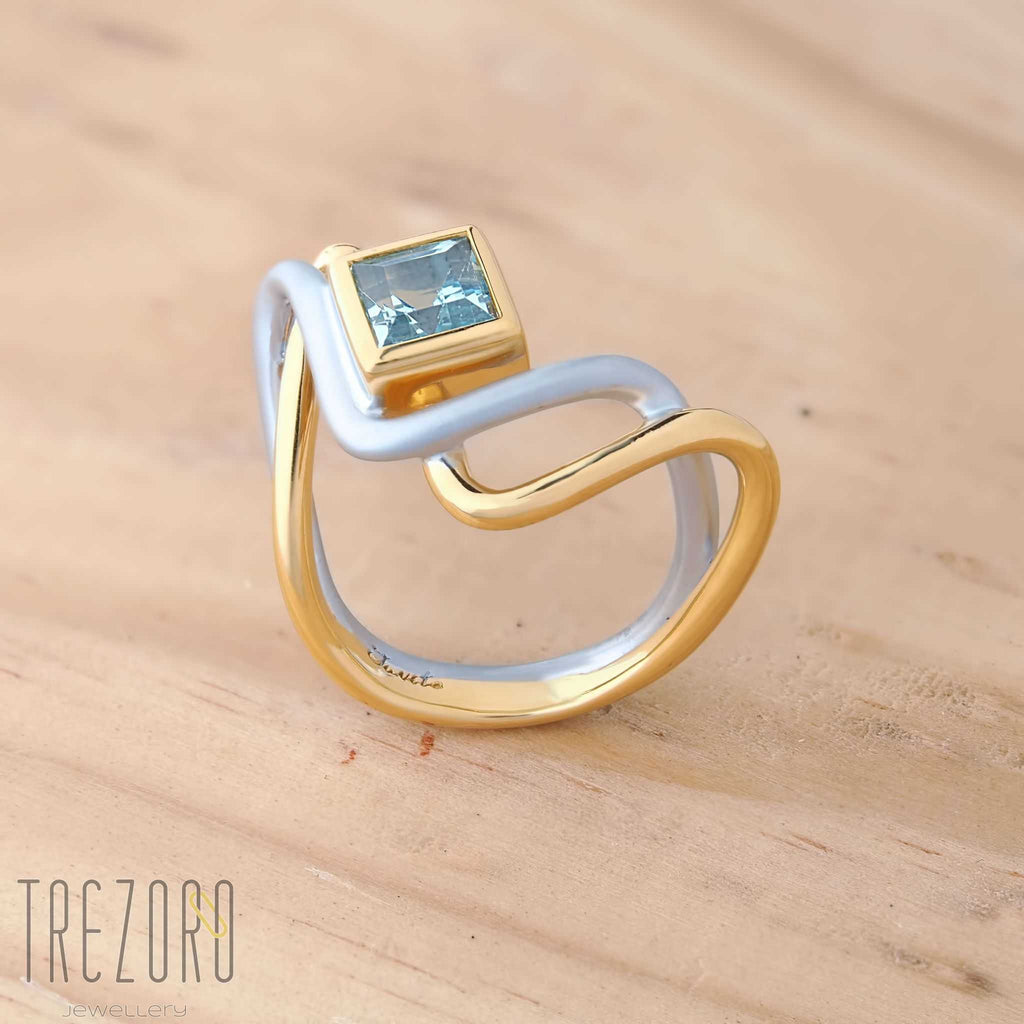Topaz Ring Sterling Silver Two Roads  Rhodium Gold Plated Sterling Silver Juvite - Trezoro Jewellery Online Store