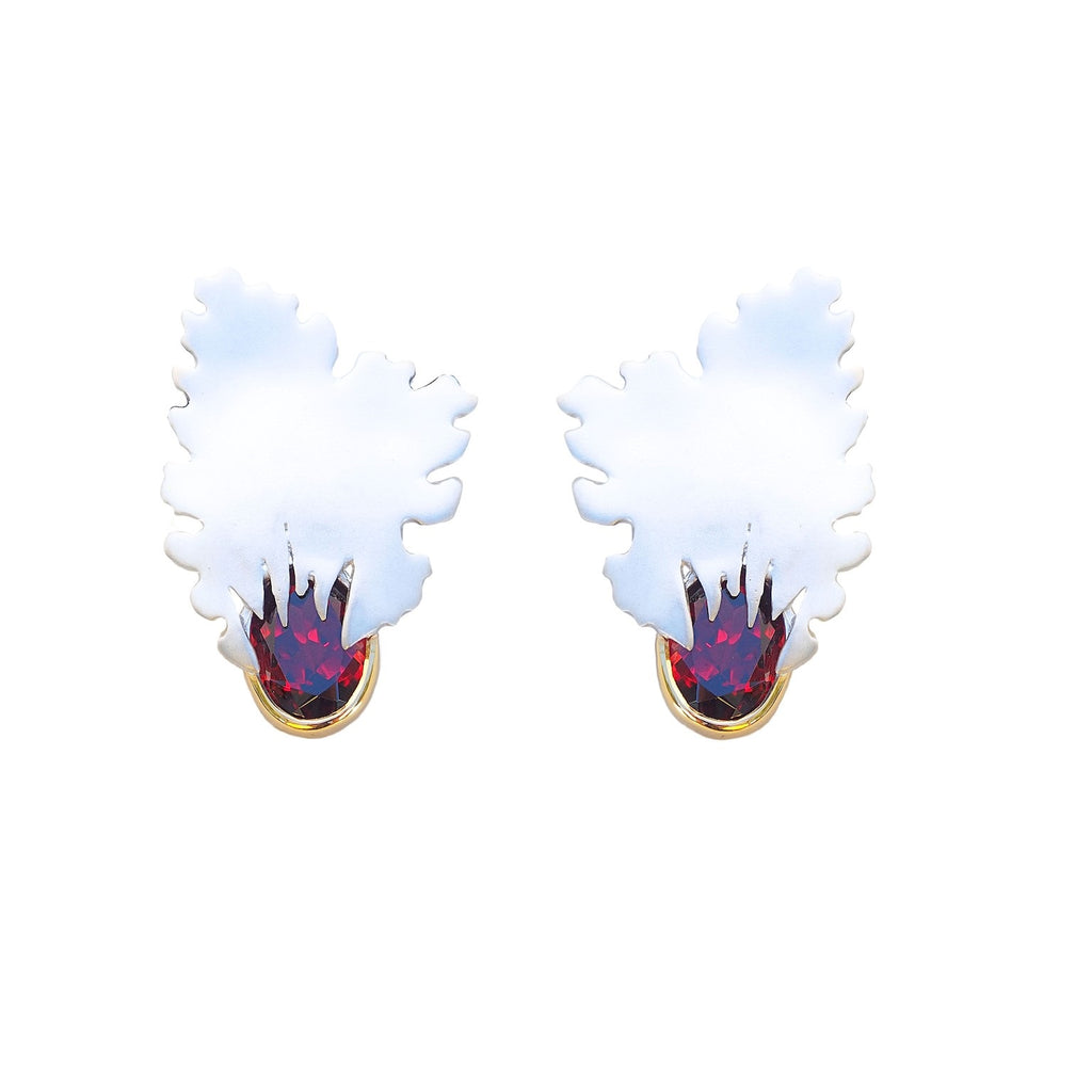 Wind of Change Designer Juvite Earrings Sterling Silver with  Garnet Rhodium and Gold Plated. Trezoro Jewellery Online Shop