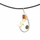 Contemporary Juvite  Jewellery Pendant Necklace Sterling Silver Sapphire Garnet