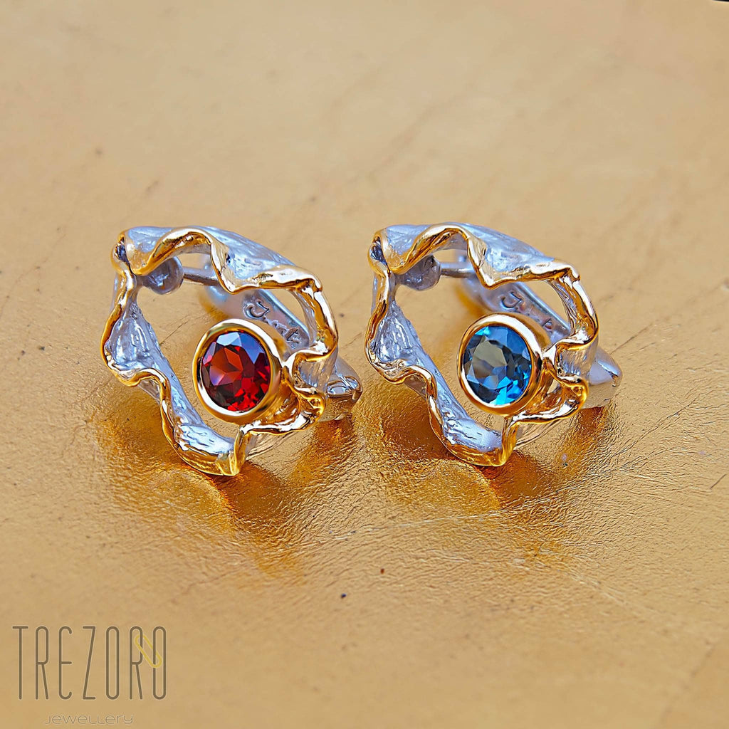"Juvite Earrings Sterling Silver Garnet or Topaz Rhodium and Gold Plated Contemporary Design ""Spirit Voyage"" - Trezoro Jewellery Online Store"