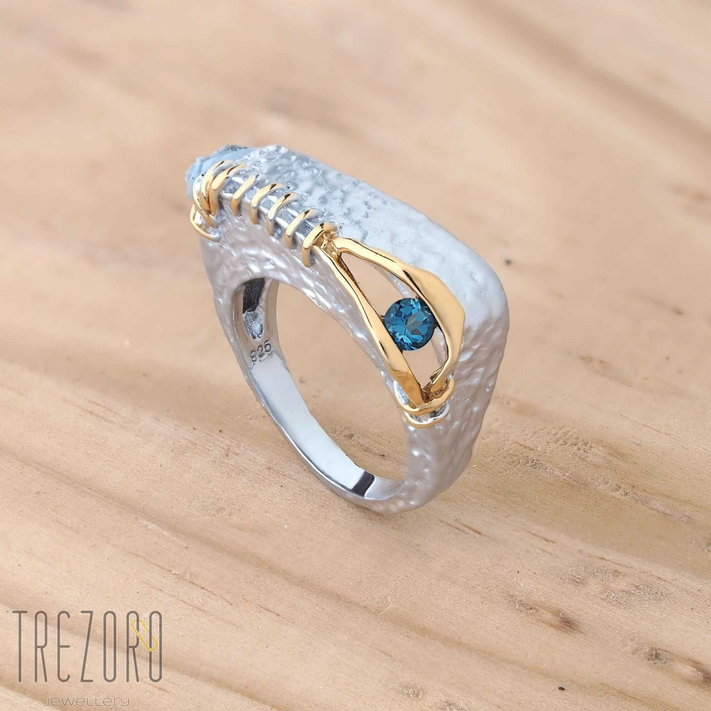 Sterling Silver Ring Incredible Discovery - Rhodium and Gold Plated Sterling Silver with Topaz  by Juvite - Trezoro Jewellery Online Store