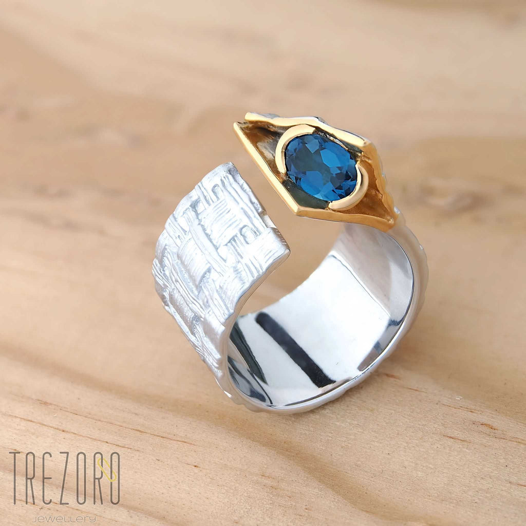 Juvite Ring Sterling Silver with Topaz Hidden Treasure Rhodium and Gold Plated Trezoro Jewellery Online