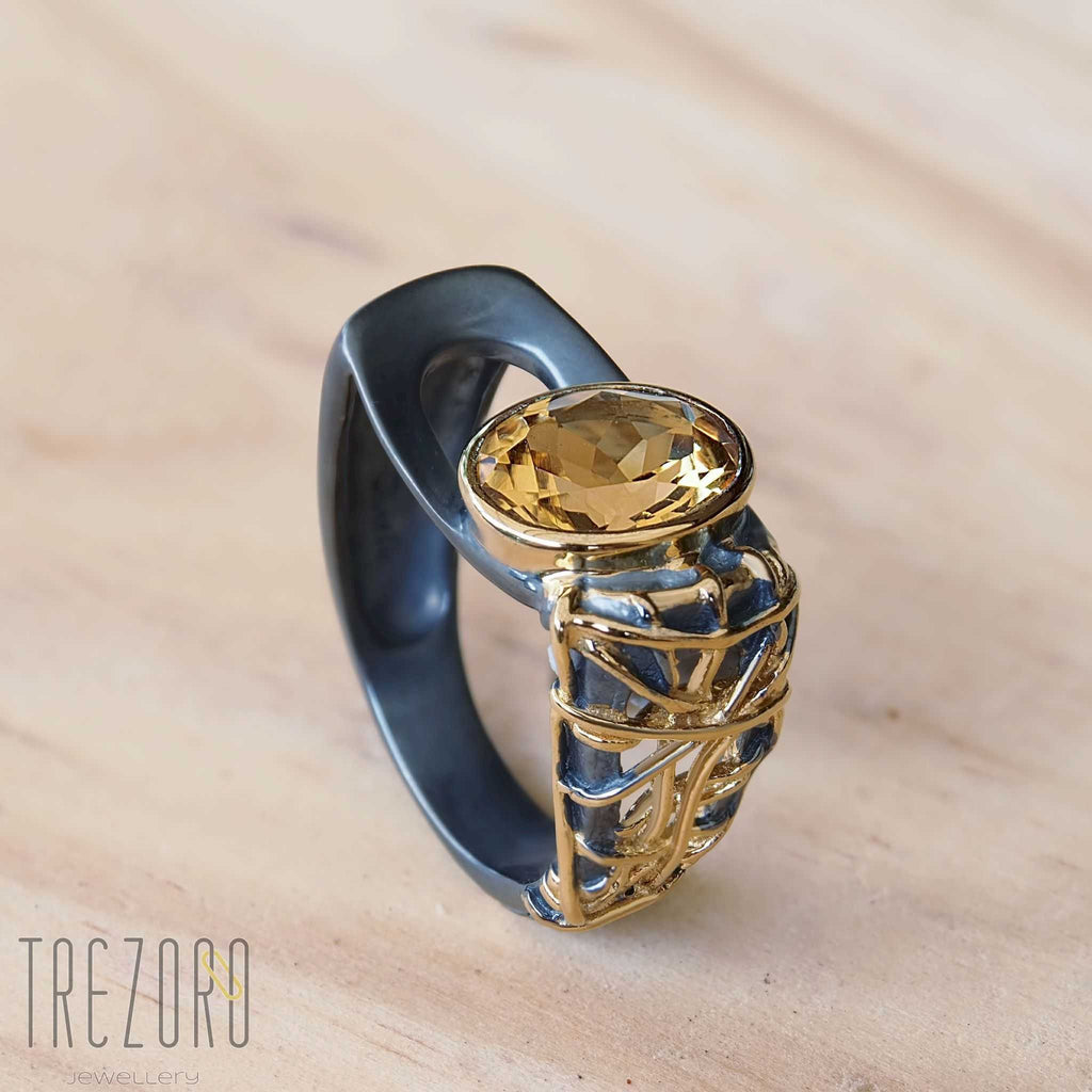 "Citrine and Sterling Silver Ring ""Sun and Shade"" Black Oxidized Gold Plated Juvite Modern Design - Trezoro Jewellery Online Store"