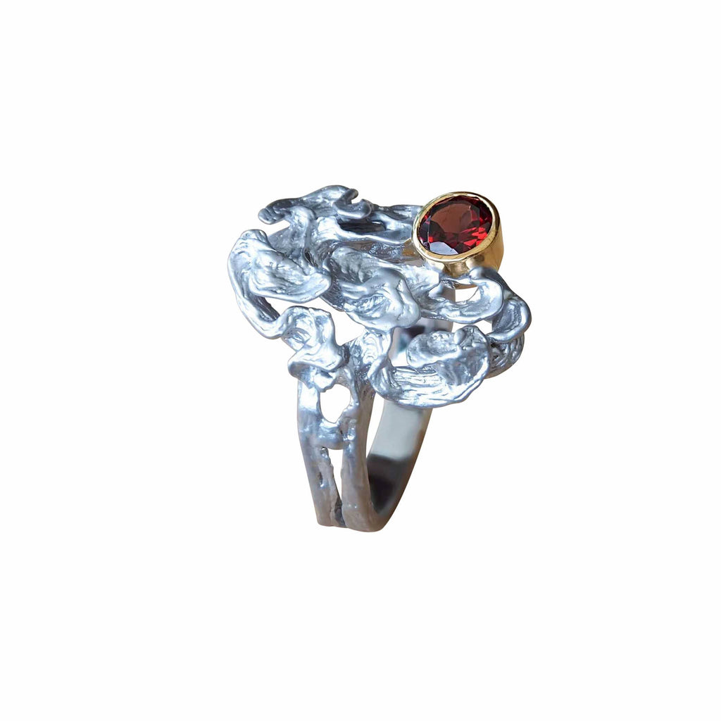 Juvite Sterling Silver Cocktail Ring Red Garnet Gemstone Unusual Contemporary Jewellery Online Australia