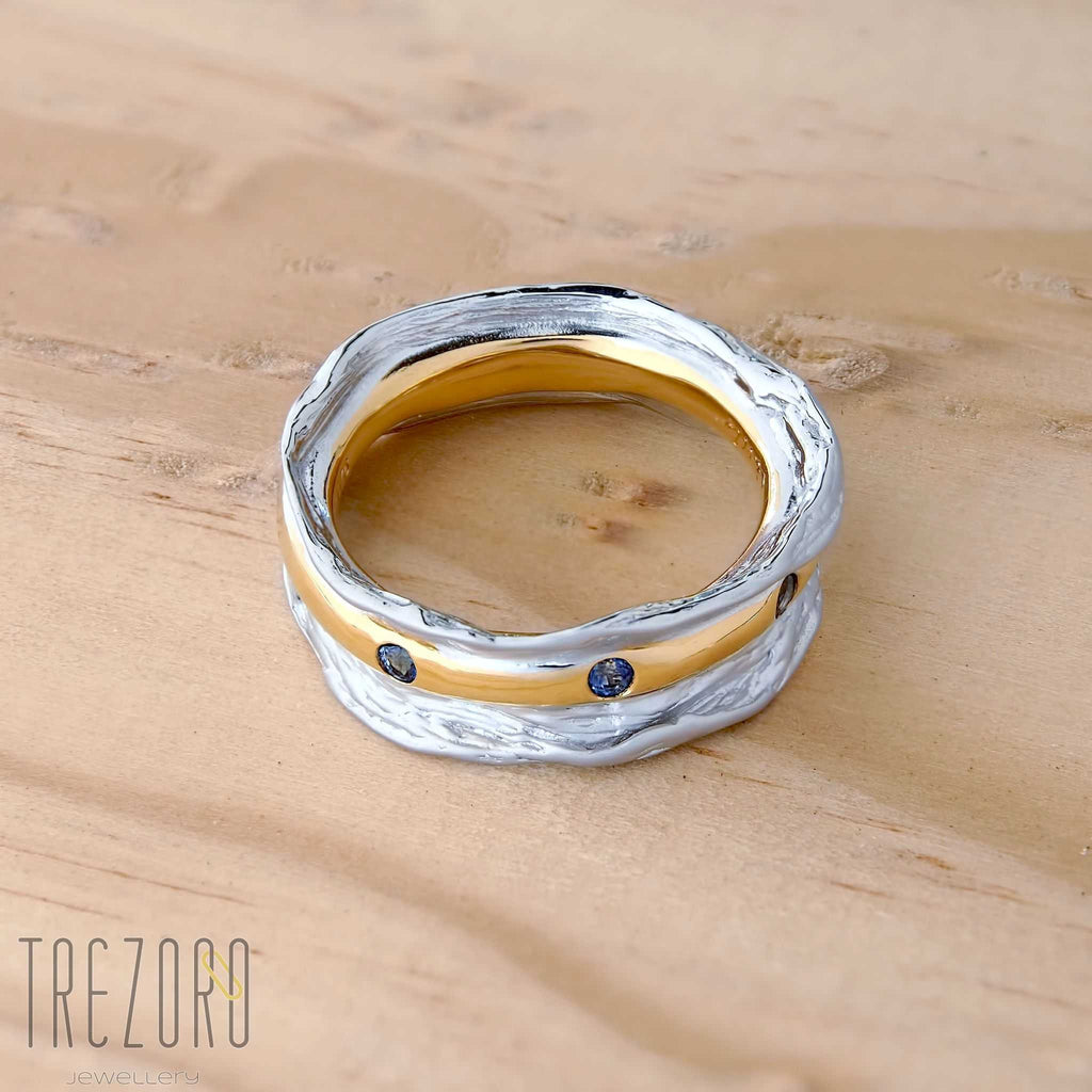 Sapphire Ring Queen's Message Ring. Rhodium and Gold Plated Sterling Silver Juvite - Trezoro Jewellery Online Store