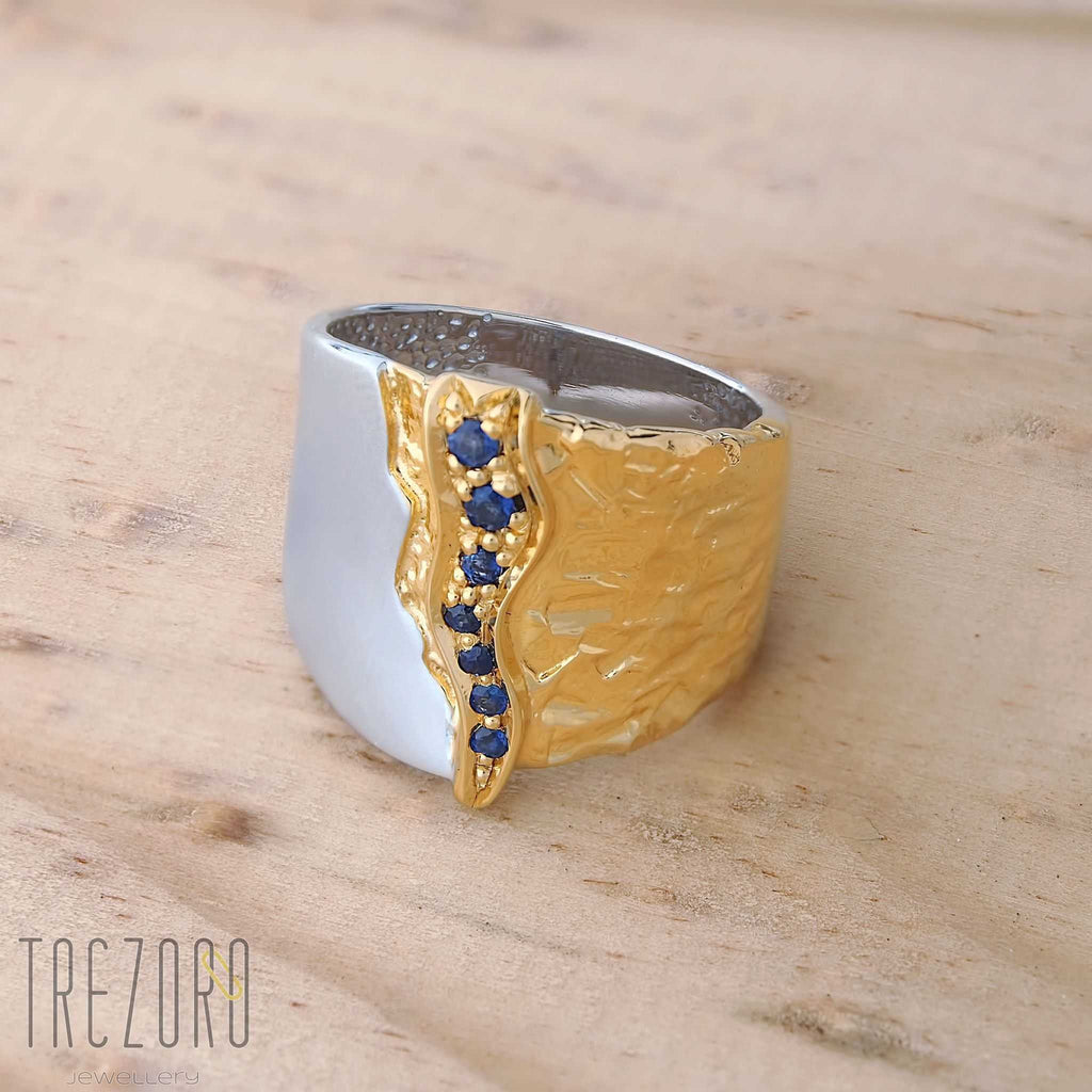 Ice and Fire Rhodium and Gold Plated Sterling Silver Ring with Natural Sapphires Juvite - Trezoro Jewellery Online Store