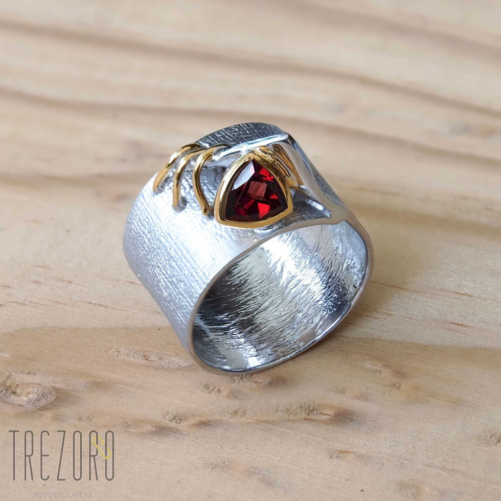 Secret Luxury Ring. Rhodium and Gold Plated Sterling Silver with Garnet Juvite Trezoro Jewellery Online
