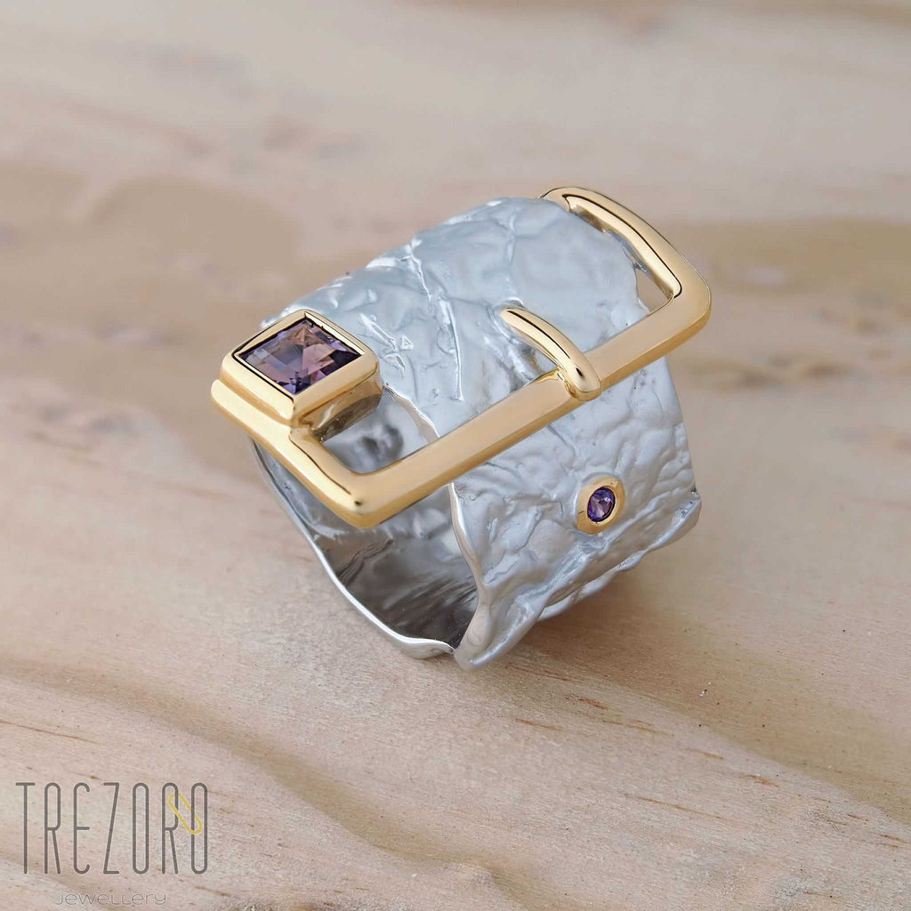 Princess Belt Ring. Juvite. Rhodium and Gold Plated Sterling Silver with Amethyst - Trezoro Jewellery Online