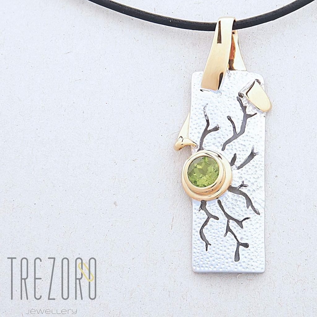 Moonlight Shadows Designer Pendant. Sterling Silver with  Peridot. Rhodium and Gold Plated. Juvite Gemstone Necklaces.