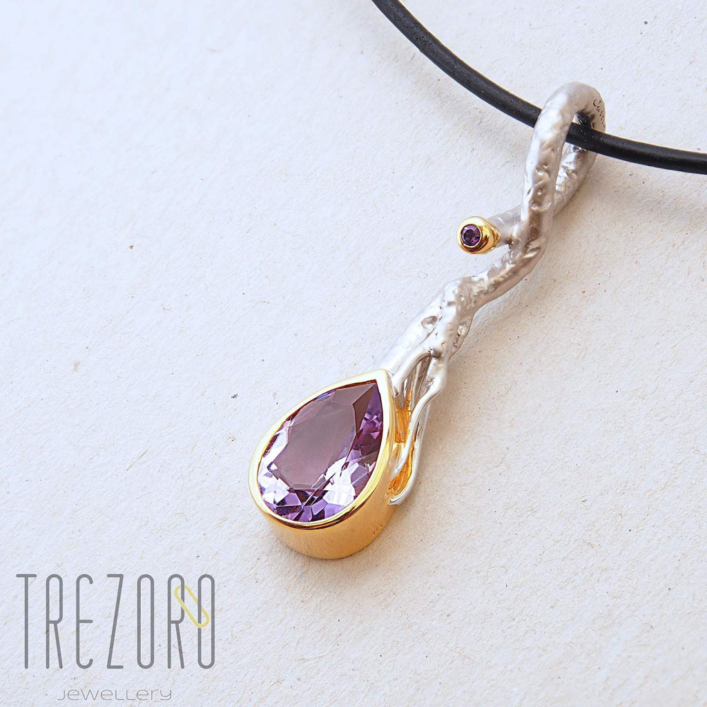 Spring River Designer Pendant. Sterling Silver with Amethyst, Rhodium and Gold Plated.