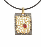 Contemporatry Jewellery Pendant Necklace Sterling Silver Black Oxidised Garnet Gold Plated