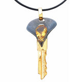 Large Massive Key Pendant Necklace Black Sterling Silver Gold Plated Yellow Gemstone Citrine