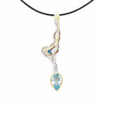 Long Pendant Necklace Large Blue Topaz Green Amethyst Juvite Sterling Silver