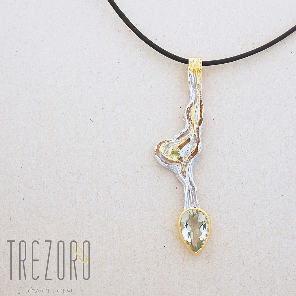 Spring Awakening Designer Pendant. Rhodium and Gold Plated Sterling Silver with Green Amethyst, Juvite Gemstone Necklases.