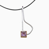 Juvite Pendant Necklace Large Big Massive Sterling Silver Amethyst Contemporary Gemstone Jewellery