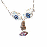 Face Eyes Nose Lips Evil Eye Nevcklace Sterling Silver CZ Funny Quirky Funky Jewellery Online