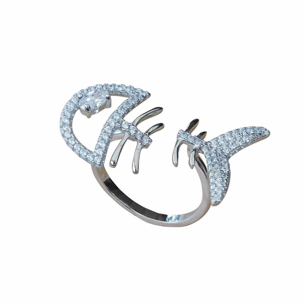 Quirky Funny Funky Statement Ring Fish Bone