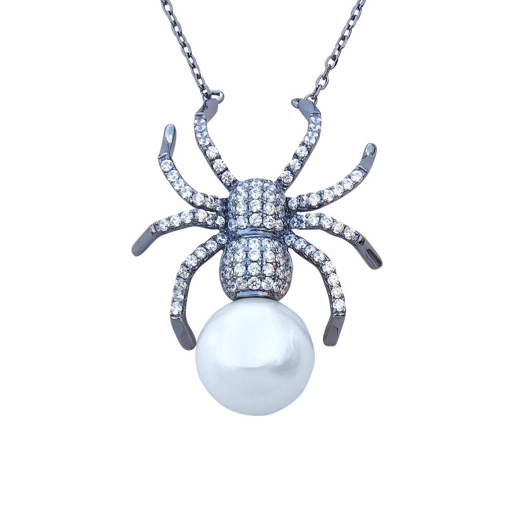 spider necklace pendant sterling silver black oxidised large shell pearl