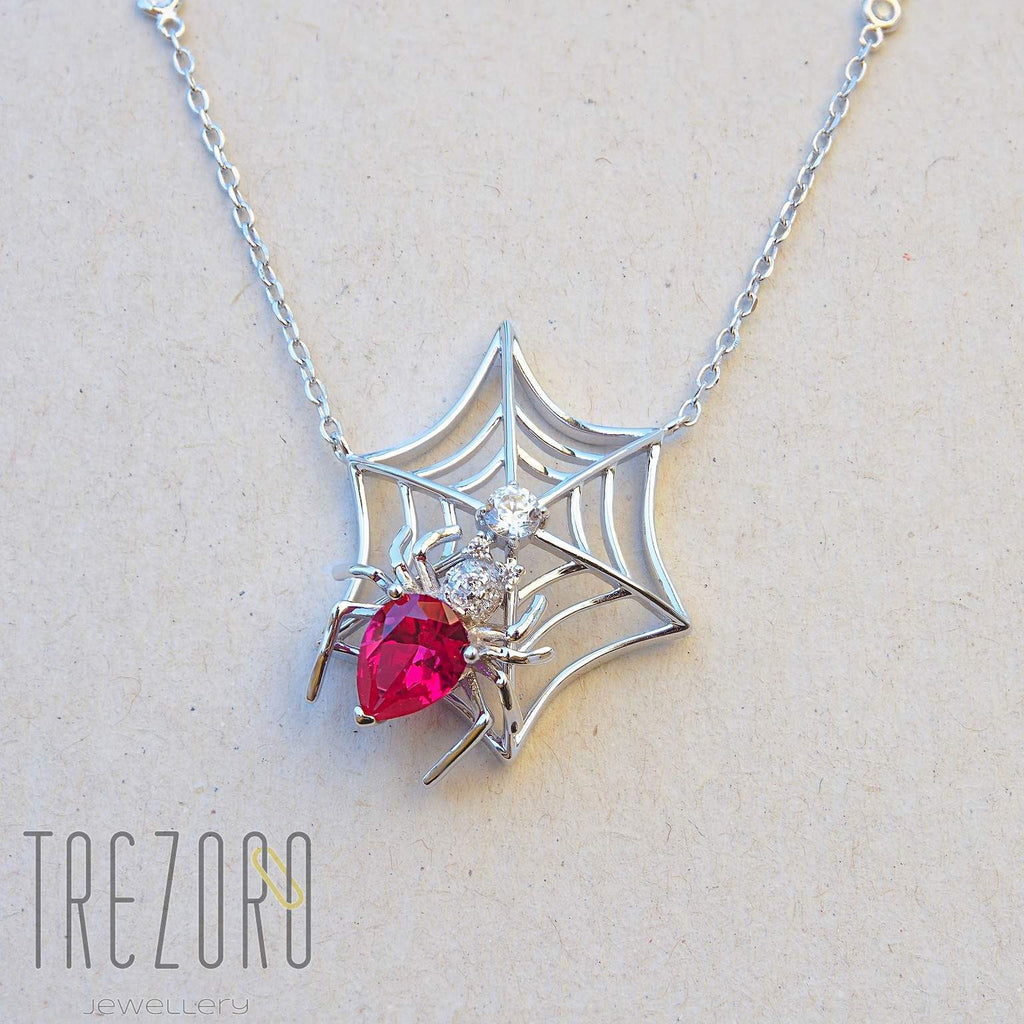 Spider in a Web Necklace. Rhodium plated Sterling Silver with Cubic Zirconia.