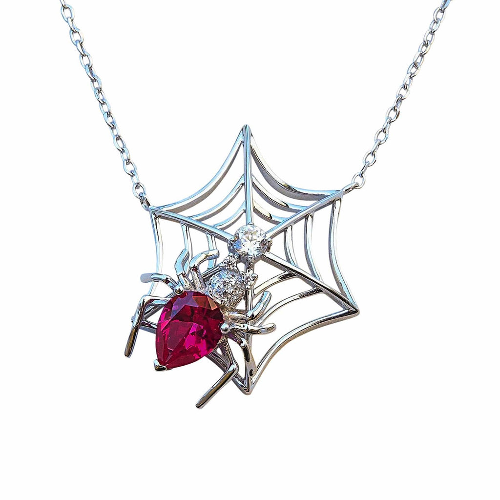 Spider in a web necklace pendant sterling silver red CZ gemstone crystsal