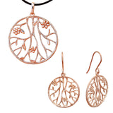 Large Pendant Earrings Jewellery Set Rose Gold Floral
