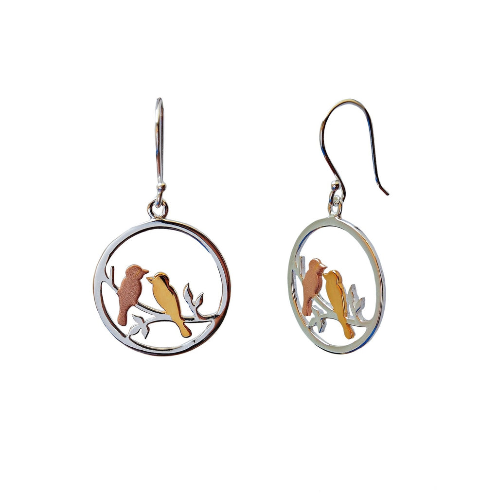 Love Birds Earrings Small Round Sterling Silver