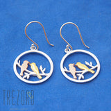 Love Birds Sterling Silver Gold Plated Earrings