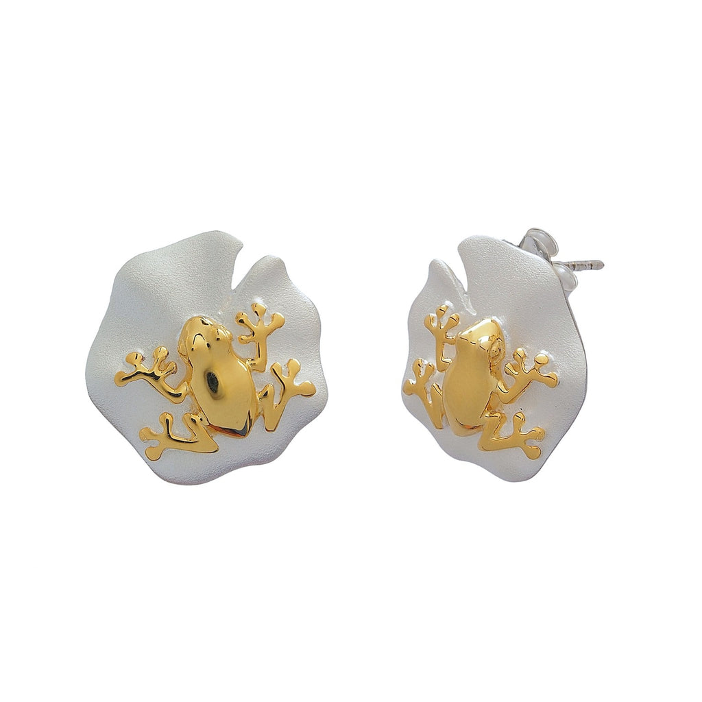 Frog on a Lotus Leaf Studs Sterling Silver Gold Plated Earrings Online Jewellery