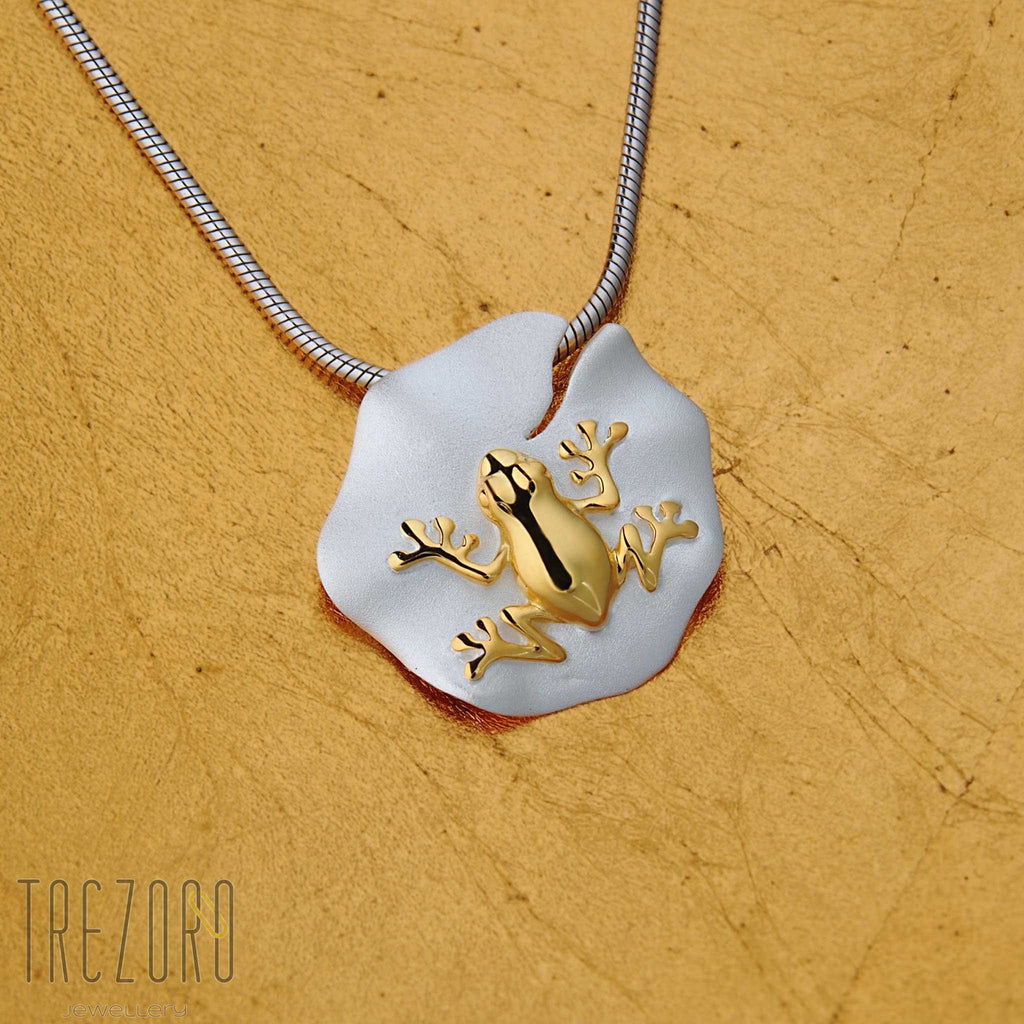 Frog on a Lotus Leaf Sterling Silver Gold Plated necklace