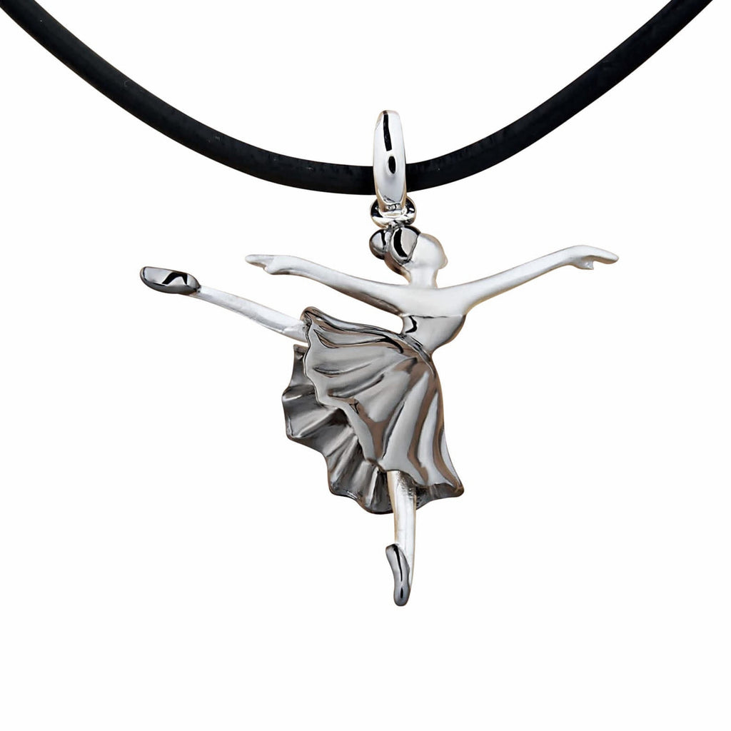 Dancer Ballerina Pendant Necklace Stelring Silver Black Rhodium Plated
