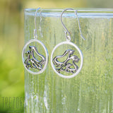 seals sterling silver earrings rhodium plated