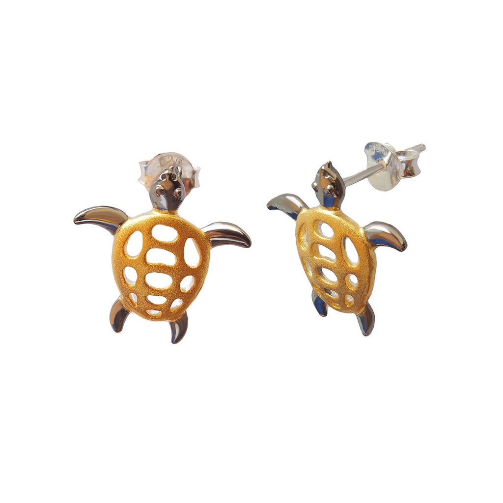 Turtles Studs Earrings Small Sterling Silver Gold Plated