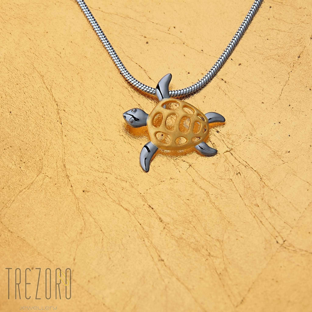 Turtle pendant gold plated sterling silver
