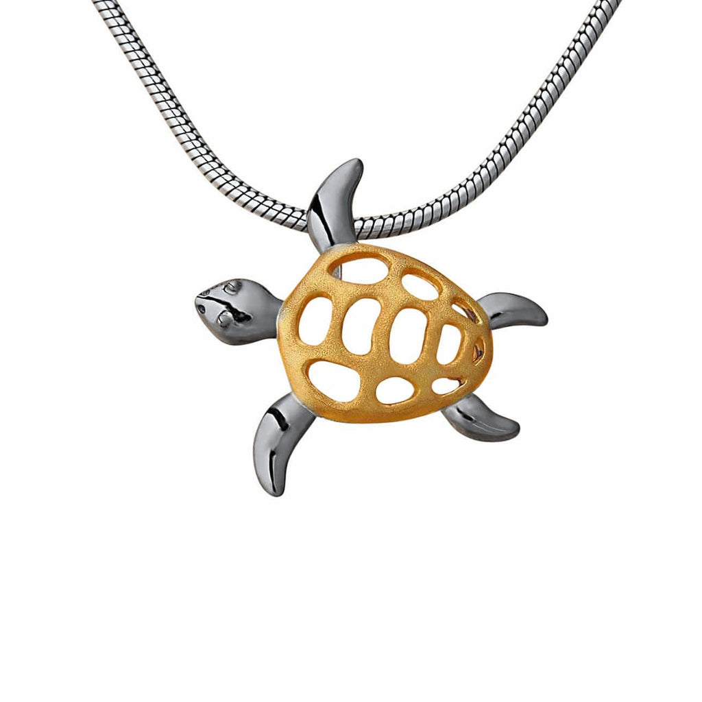 Turtle Small Sterling Silver Pendant Necklace Animal Cute Handmade Jewellery Internet Shop Trezoro
