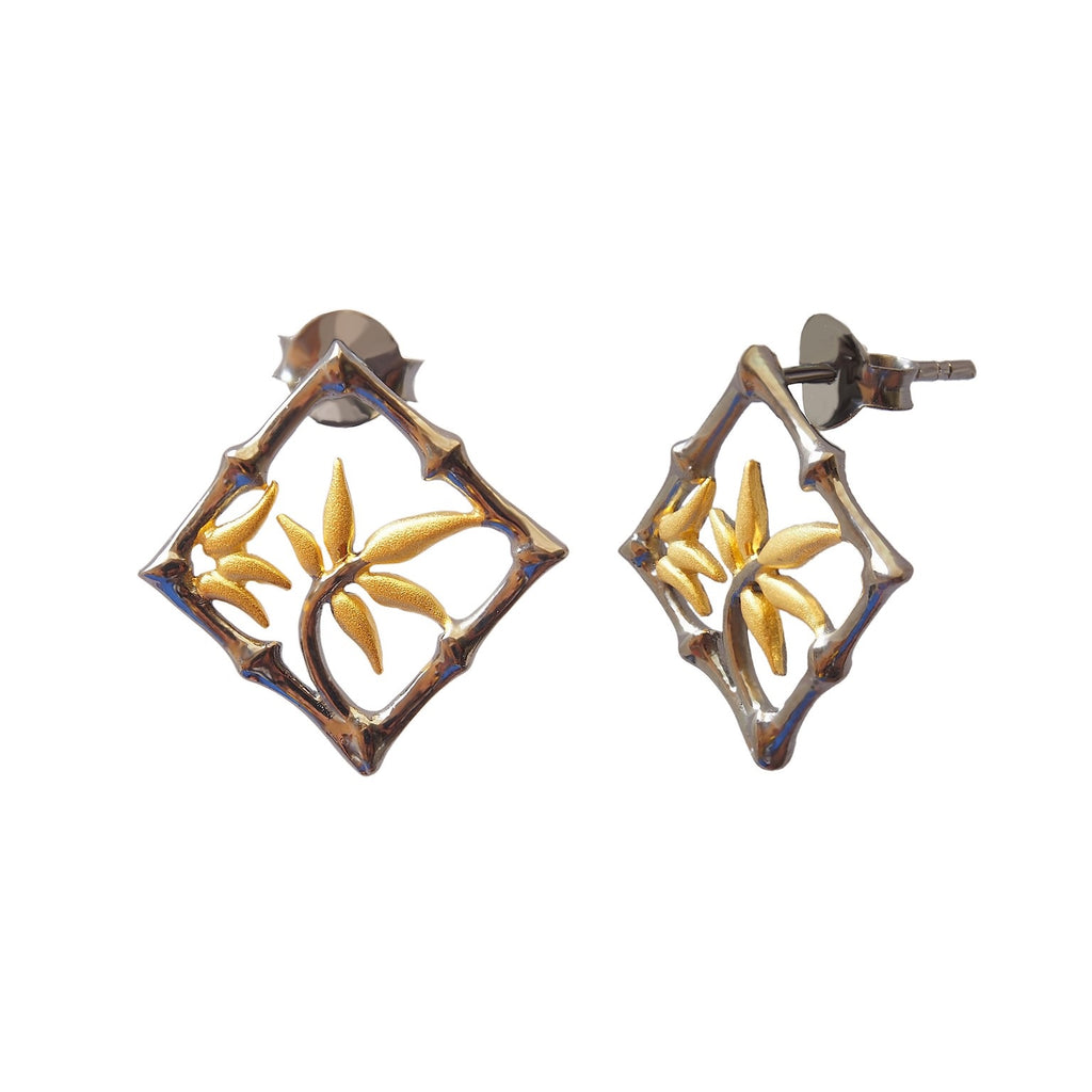 Bamboo Stud Earrings Black Steling Silver Oxidised Gold Plated Square