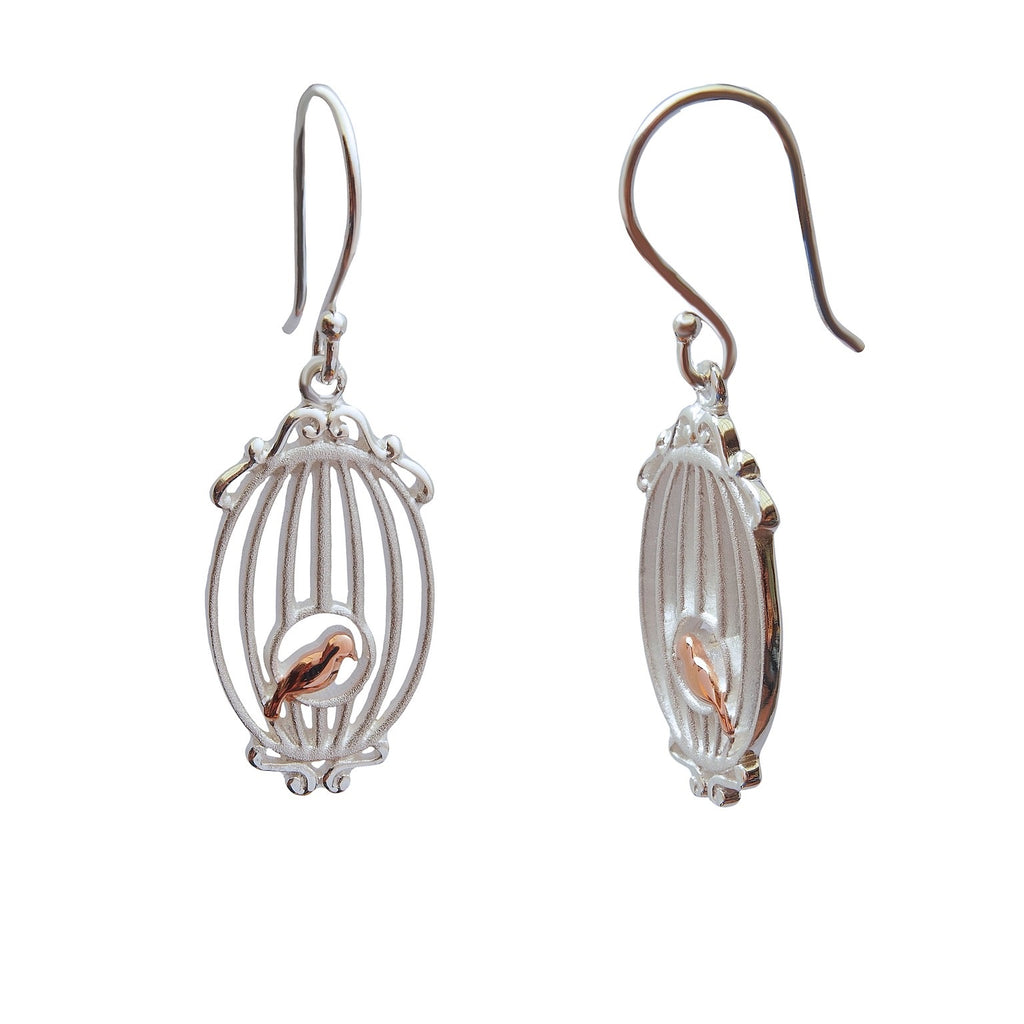 Bird in a cage sterling silver gold plated earrings small