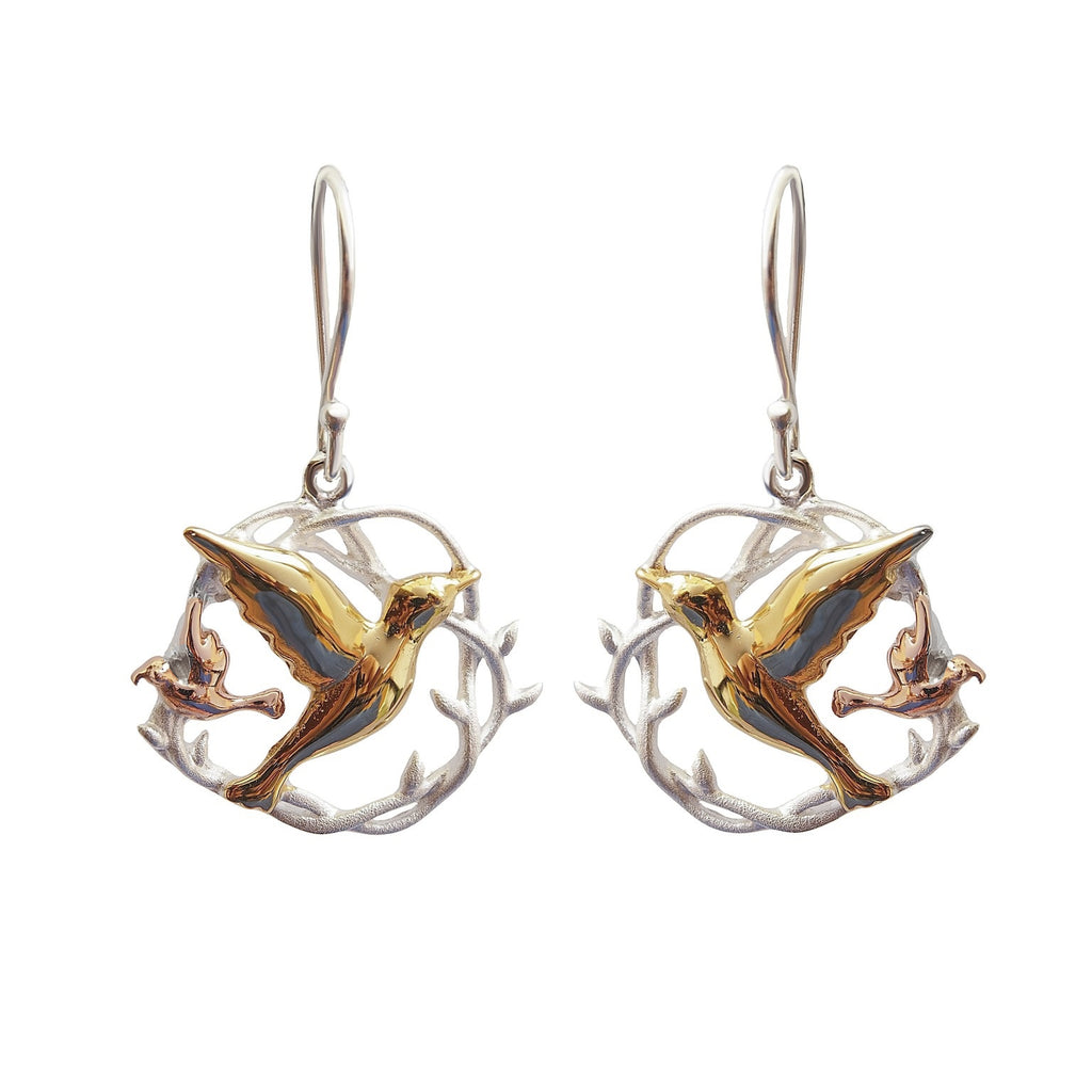 Birds in a nest earrings sterling silver yellow rose gold plated Jewellery Australia