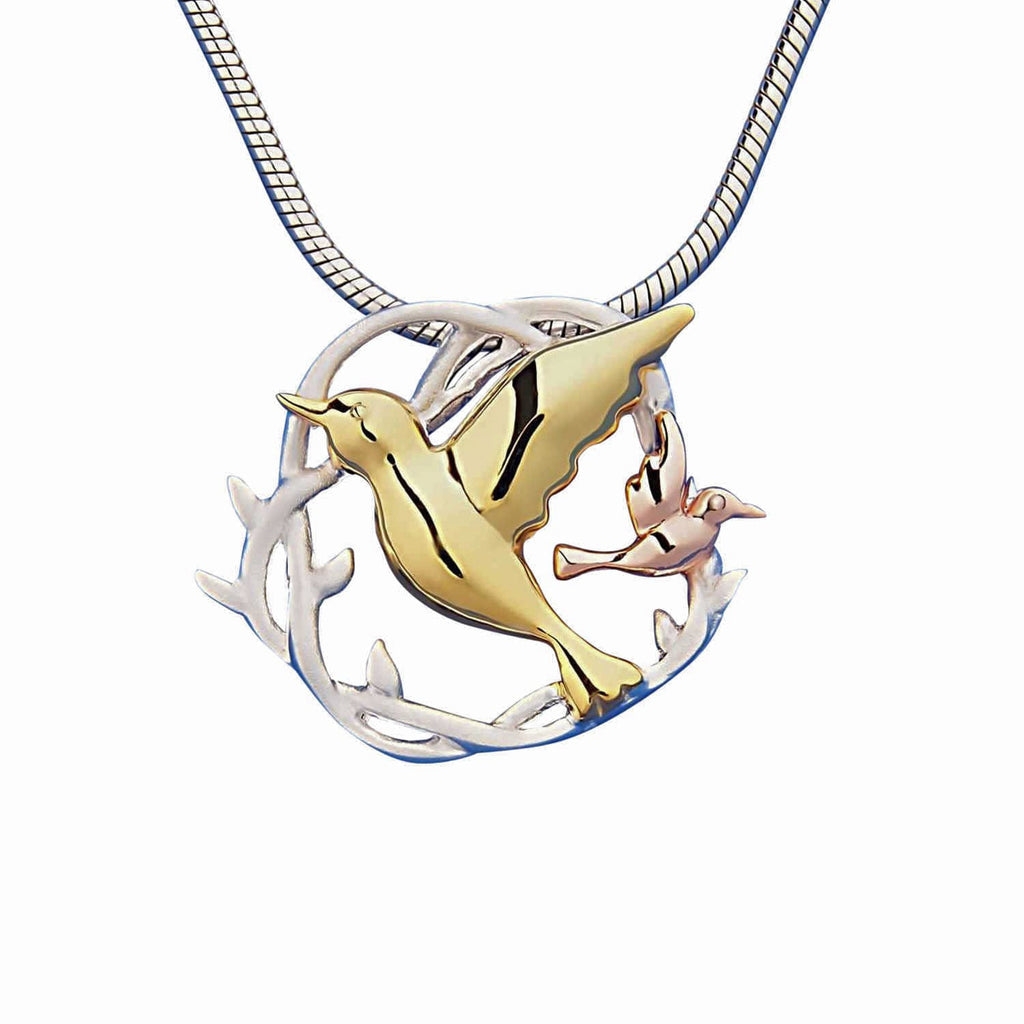 Birds in a nest pendant necklace sterling silver gold Trezoro online jewellery