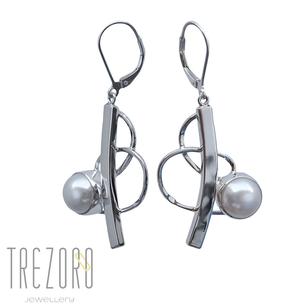 Curved Line and Pearl Earrings - Trezoro Jewellery - 1