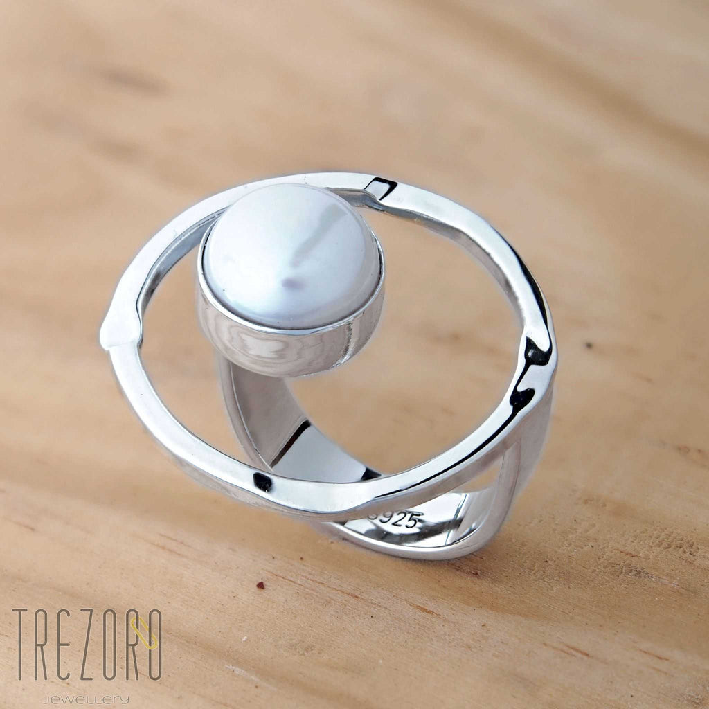 Circle and Pearl Ring Sterling Silver Trezoro Jewellery Online