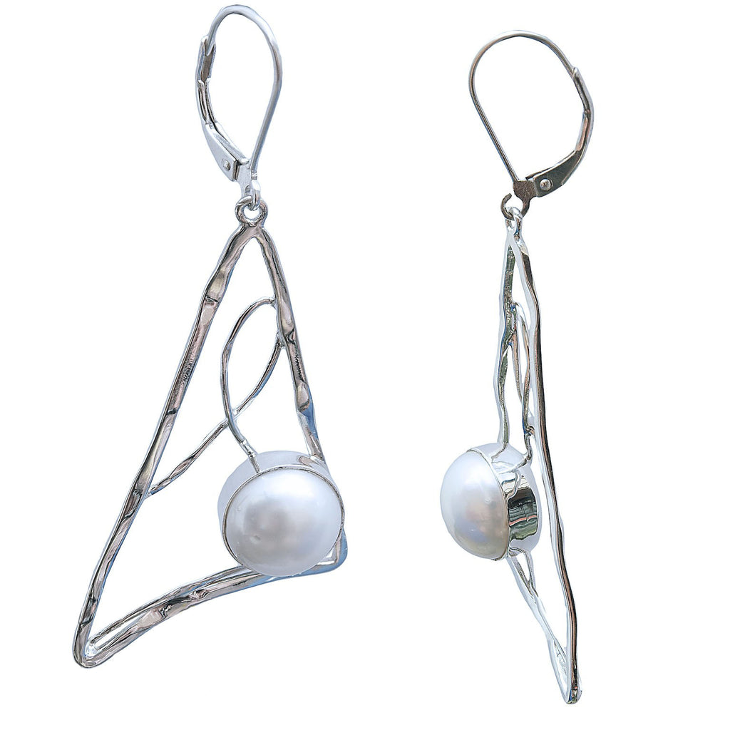 Triangle, Lines and Pearl Earrings Modern Design - Trezoro Jewellery Online Store