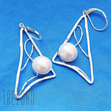 Triangle, Lines and Pearl Earrings Sterling Silver Modern Design - Trezoro Jewellery Online