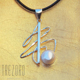 Lines and Pearl Pendant Sterling Silver Trezoro Jewellery online store