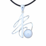 Contemporary Modern Unusual Sterling Silver Pendant With Pearl